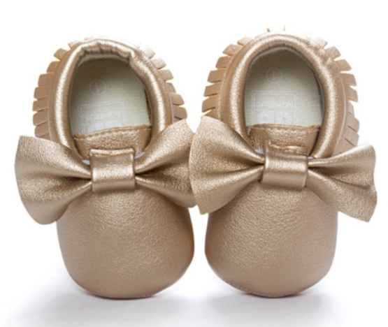 Metallic Moccasins with Bow - Gold