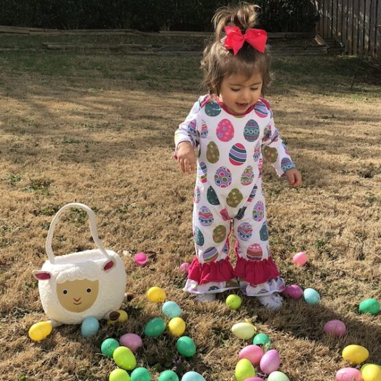 """Egg""-Stra Cute Easter Romper (Front)"
