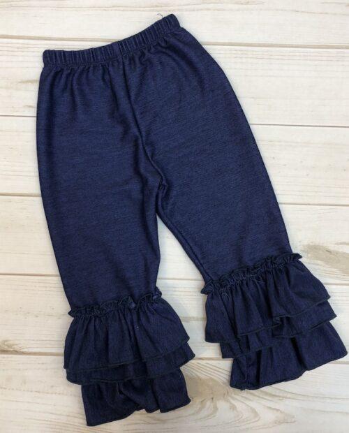 Melina & Me - Denim Bell-bottom Ruffle Pants