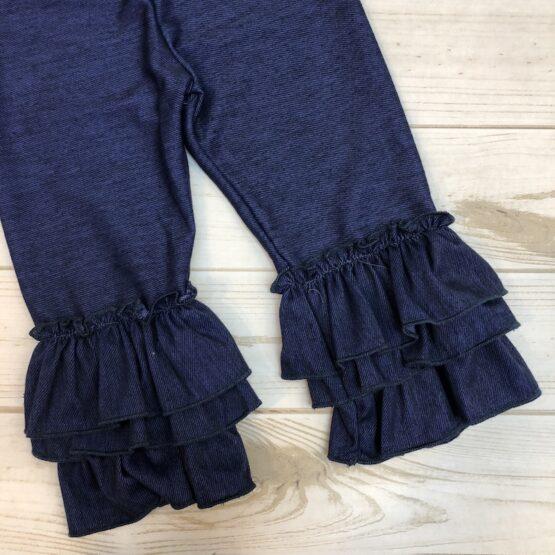 Melina & Me - Denim Bell-bottom Ruffle Pants (Front)