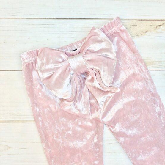 Melina & Me - Velvet Bow Pants - Blush (Back 2)
