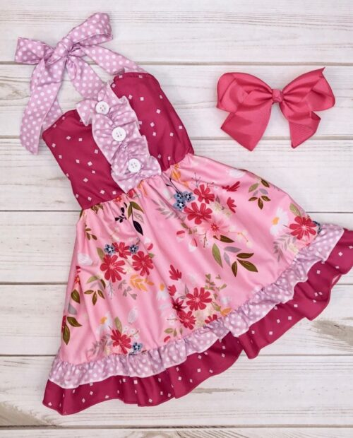 Melina & Me - Raspberry Blooms Dress