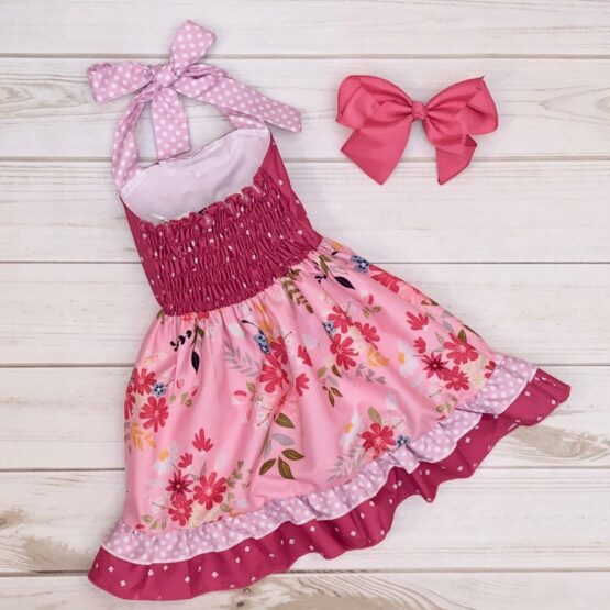Melina & Me - Raspberry Blooms Dress (Back)