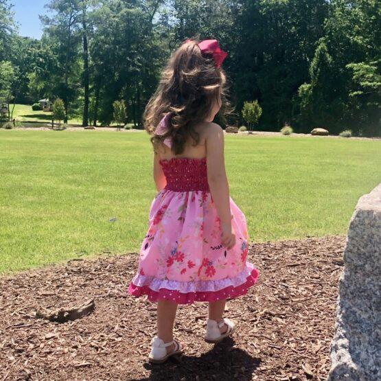 Melina & Me - Raspberry Blooms Dress (Model Back)
