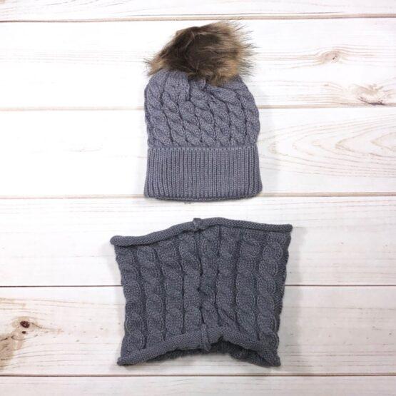 Melina & Me - Knit Pom Pom Hat & Scarf Set - Gray