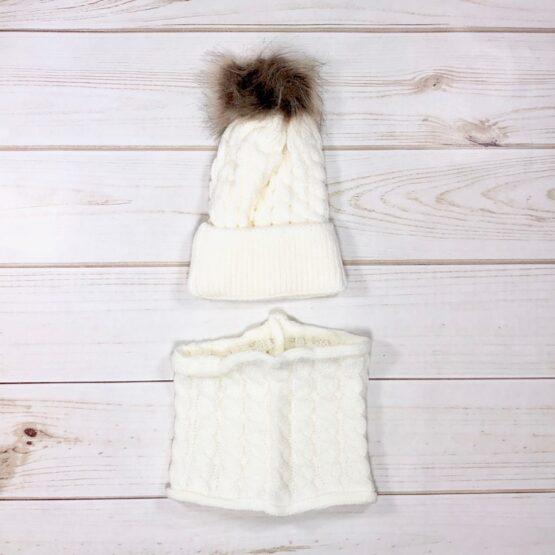 Melina & Me - Knit Pom Pom Hat & Scarf Set - Ivory