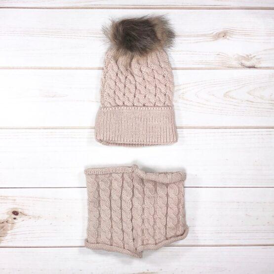 Melina & Me - Knit Pom Pom Hat & Scarf Set - Mocha