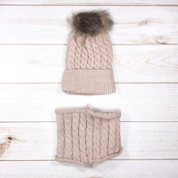 Knit Pom Pom Hat & Scarf Set