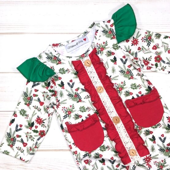 Melina & Me - Holly Jolly Christmas Romper (Front)