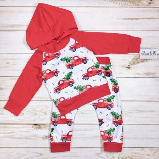 Melina & Me - Red Truck Sweatsuit (Front)
