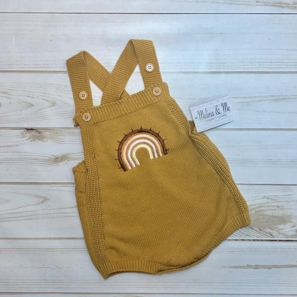 Rainbow Knit Romper (Mustard)